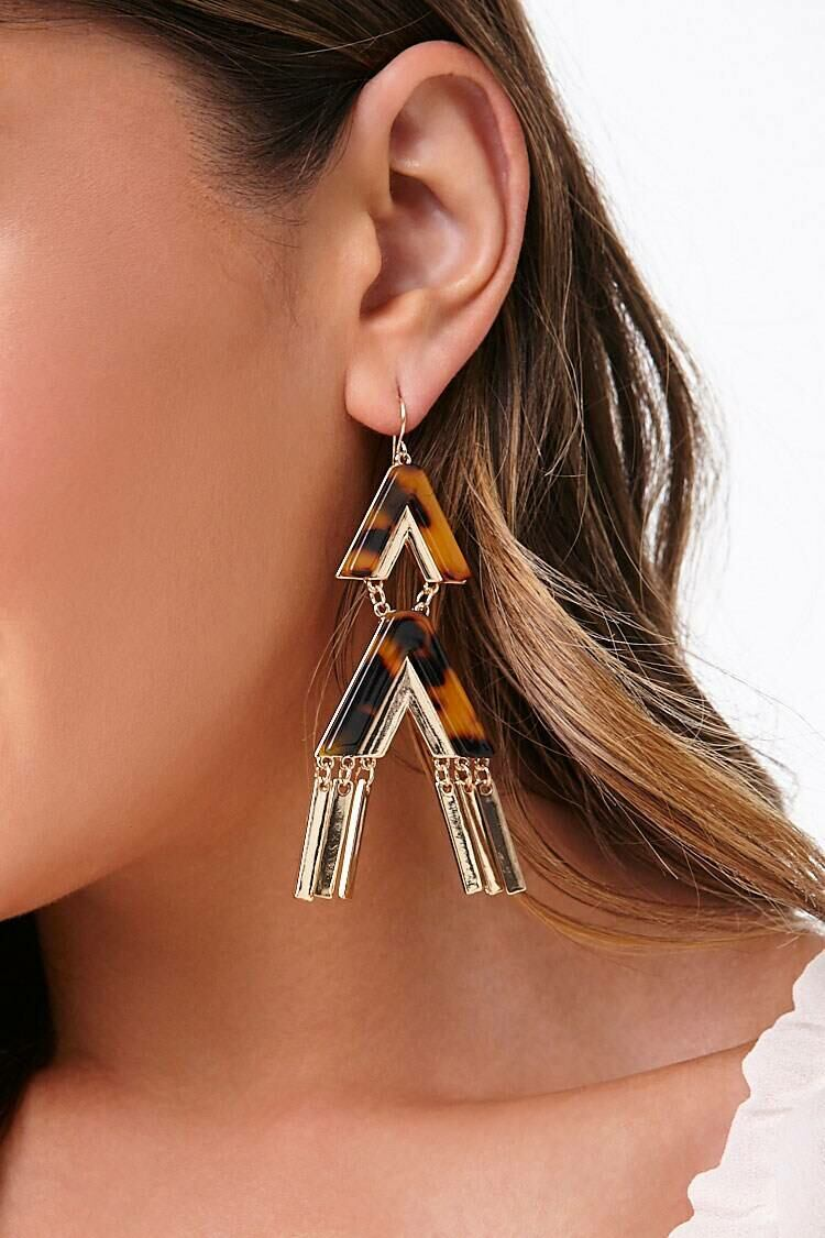 Forever 21 Brown/Gold Geo Drop Earrings WOMEN Women ACCESSORIES Womens JEWELRY