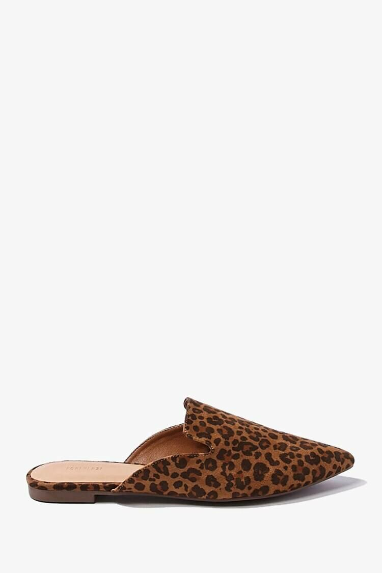 Forever 21 Brown/Multi Leopard Pointed Toe Loafer Mules WOMEN Women SHOES Womens SLIPPERS