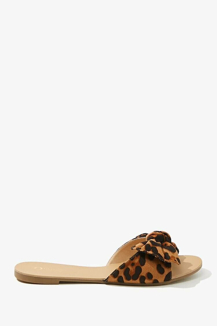 Forever 21 Brown/Multi Leopard Print Faux Suede Sandals WOMEN Women SHOES Womens SANDALS