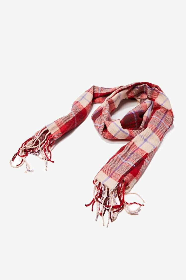 Forever 21 Burgundy/Multi Plaid Oblong Scarf WOMEN Women ACCESSORIES Womens SCARFS