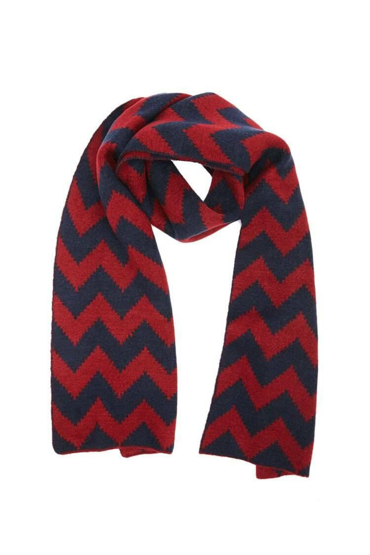 Forever 21 Burgundy/Navy Zigzag Brush Knit Scarf WOMEN Women ACCESSORIES Womens SCARFS