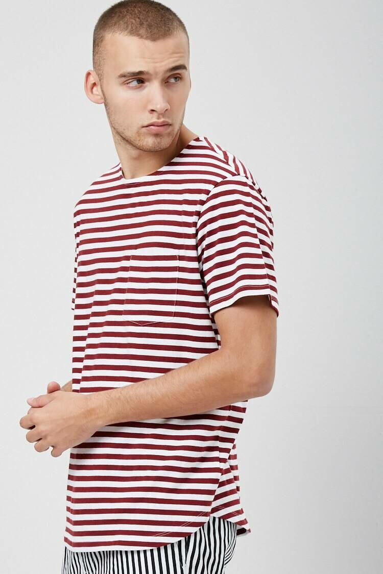 Forever 21 Burgundy/White Striped Pocket Tee MEN Men FASHION Mens T-SHIRTS