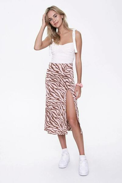 Forever 21 Camel/Brown Zebra Print Slit Skirt WOMEN Women FASHION Womens SKIRTS