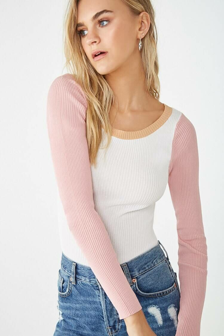 Forever 21 Camel/Pink Ribbed Colorblock Sweater WOMEN Women FASHION Womens SWEATERS