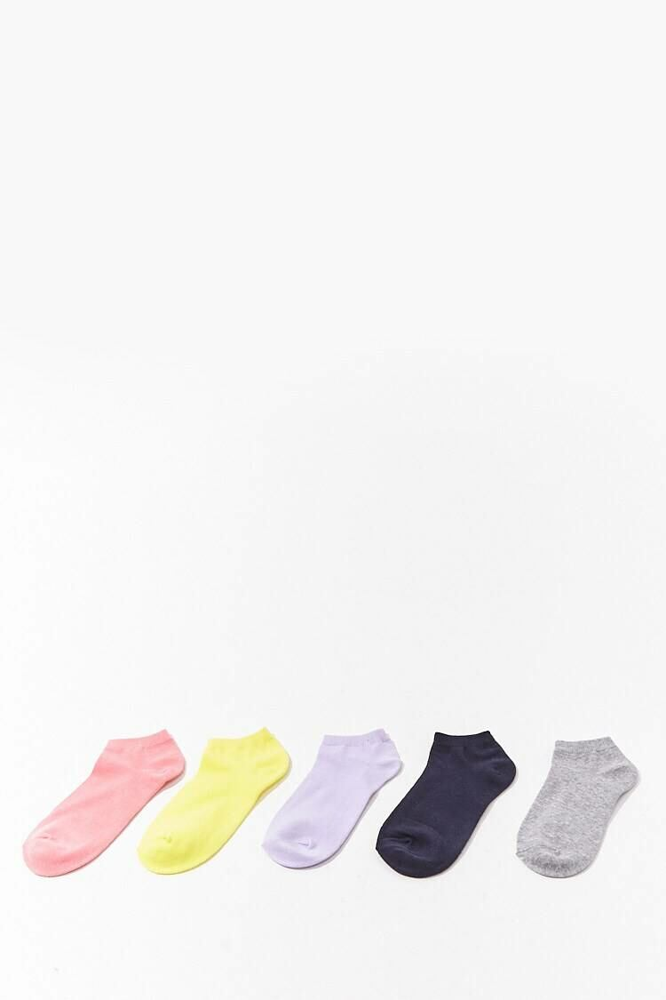 Forever 21 Coral/Grey Marled Ankle Socks – 5 Pack WOMEN Women ACCESSORIES Womens SOCKS