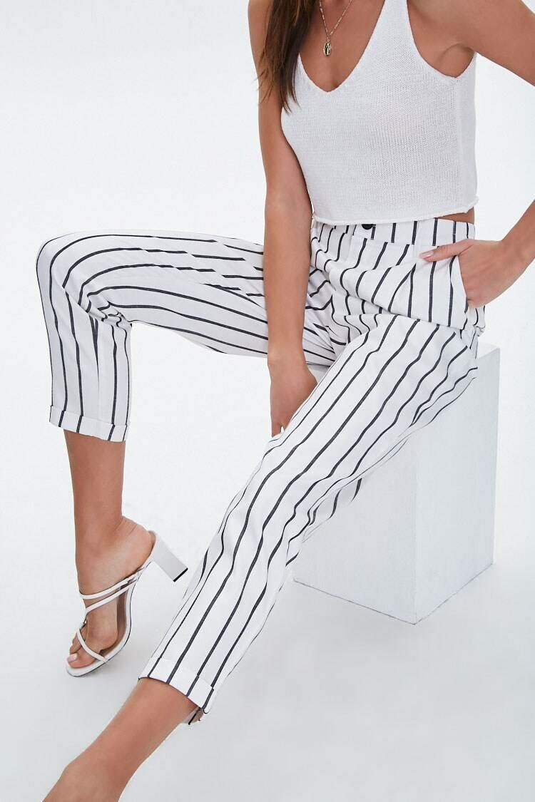 Forever 21 Cream/Black Striped Cuffed-Hem Ankle Pants WOMEN Women FASHION Womens TROUSERS