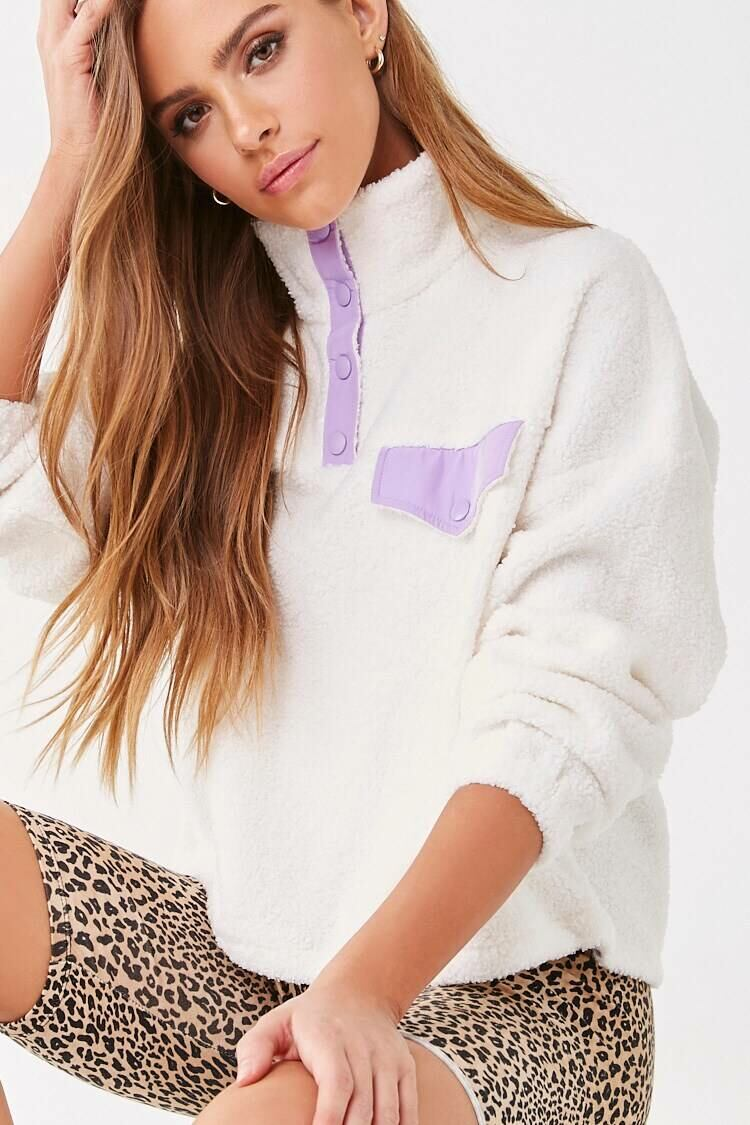 Forever 21 Cream/Lavender Faux Shearling Pullover WOMEN Women FASHION Womens SWEATERS