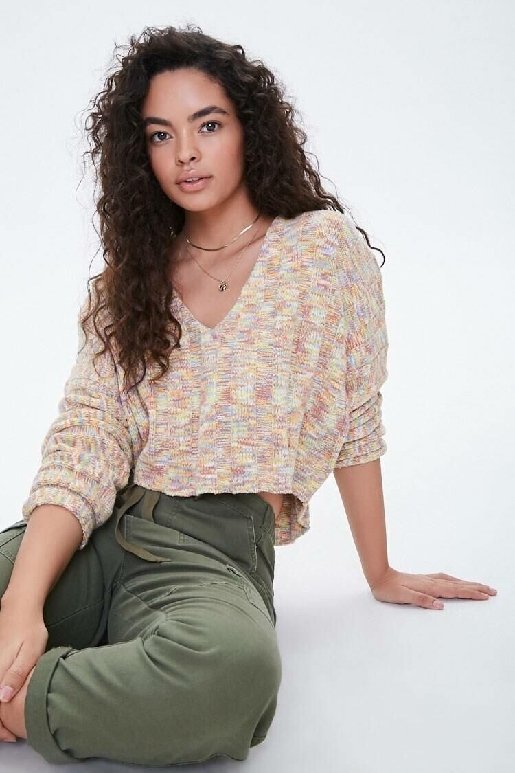 Forever 21 Cream/Multi Marled High-Low Sweater WOMEN Women FASHION Womens SWEATERS