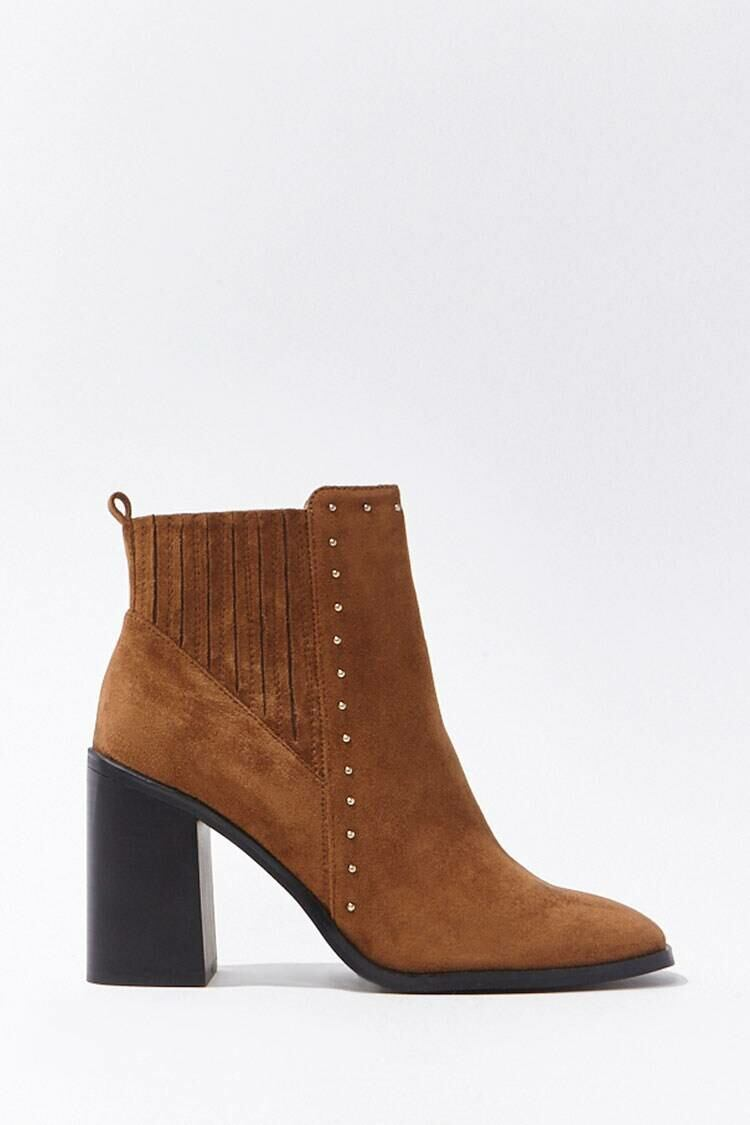 Forever 21 Darkbrown Studded Faux Suede Booties WOMEN Women SHOES Womens ANKLE BOOTS