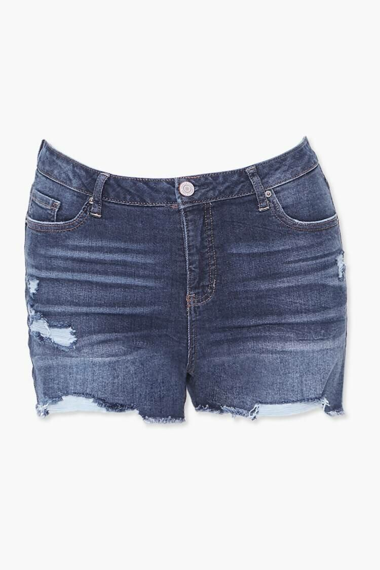 Forever 21 Darkdenim Plus Size Distressed Denim Shorts WOMEN Women FASHION Womens SHORTS