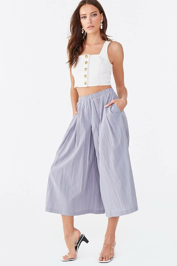 Forever 21 Dustyblue Pinstriped High-Rise Culottes WOMEN Women FASHION Womens TROUSERS