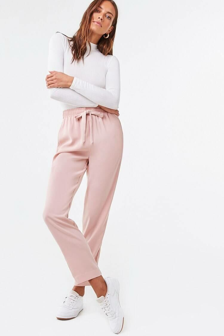 Forever 21 Dustypink Satin-Accent Ankle Pants WOMEN Women FASHION Womens TROUSERS