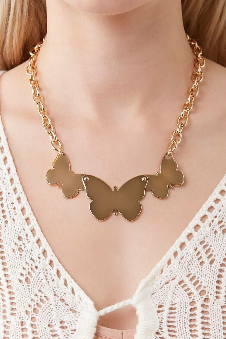 Forever 21 Gold Butterfly Pendant Statement Necklace WOMEN Women ACCESSORIES Womens JEWELRY