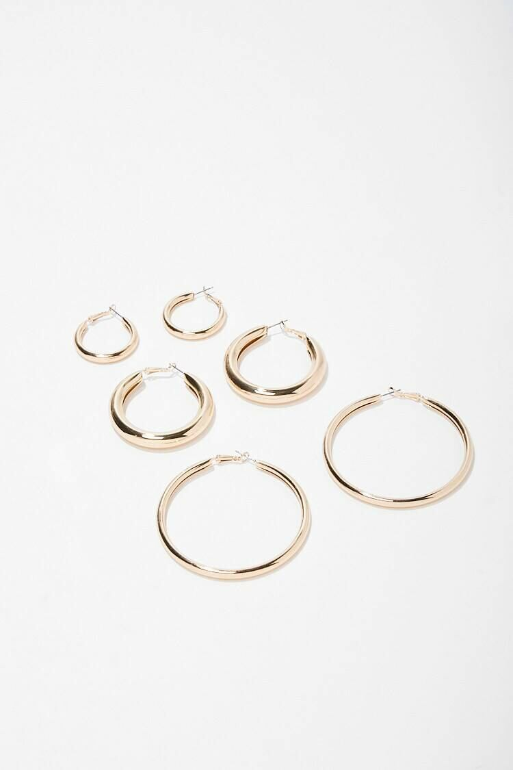 Forever 21 Gold Hoop Earrings Set WOMEN Women ACCESSORIES Womens JEWELRY