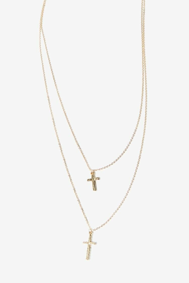 Forever 21 Gold Layered Cross Pendant Chain Necklace WOMEN Women ACCESSORIES Womens JEWELRY