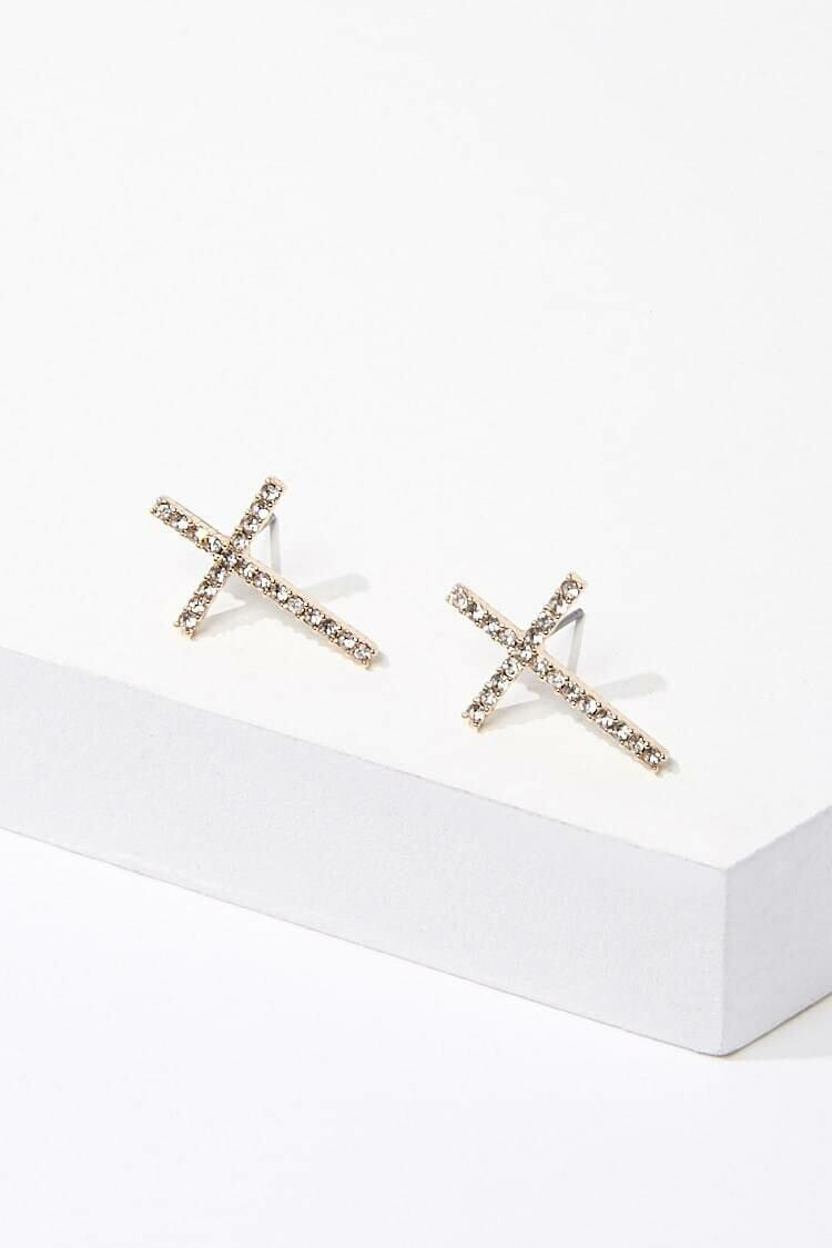 Forever 21 Gold/Clear Rhinestone Cross Stud Earrings WOMEN Women ACCESSORIES Womens JEWELRY