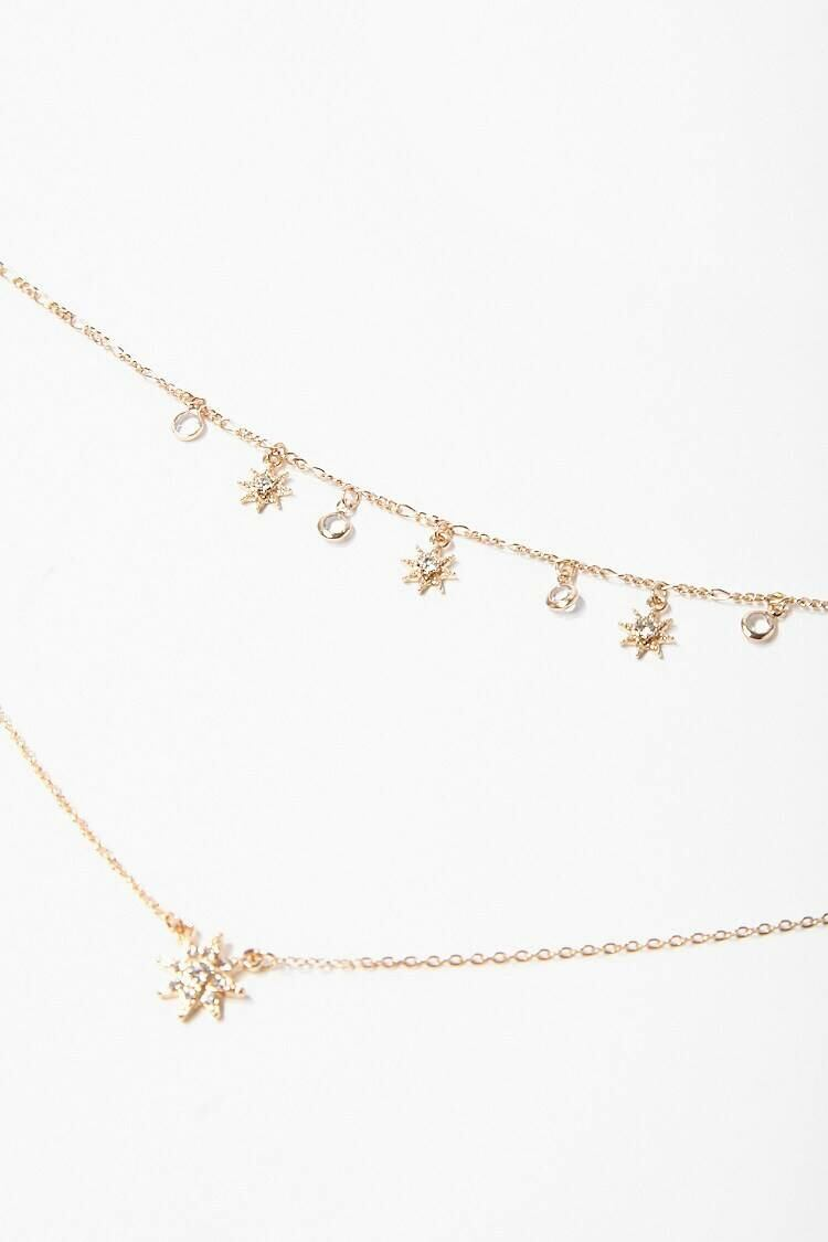 Forever 21 Gold/Clear Star Charm Layered Necklace WOMEN Women ACCESSORIES Womens JEWELRY