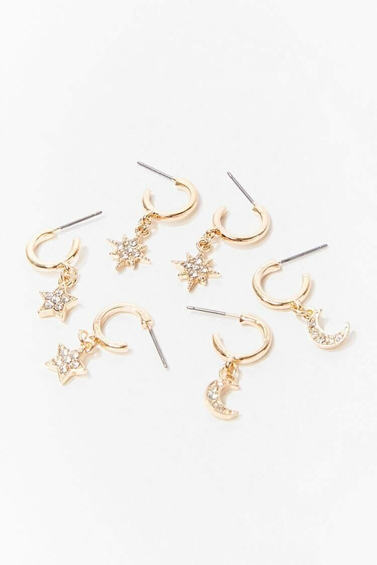 Forever 21 Gold/Clear Star & Moon Hoop Earring Set WOMEN Women ACCESSORIES Womens JEWELRY
