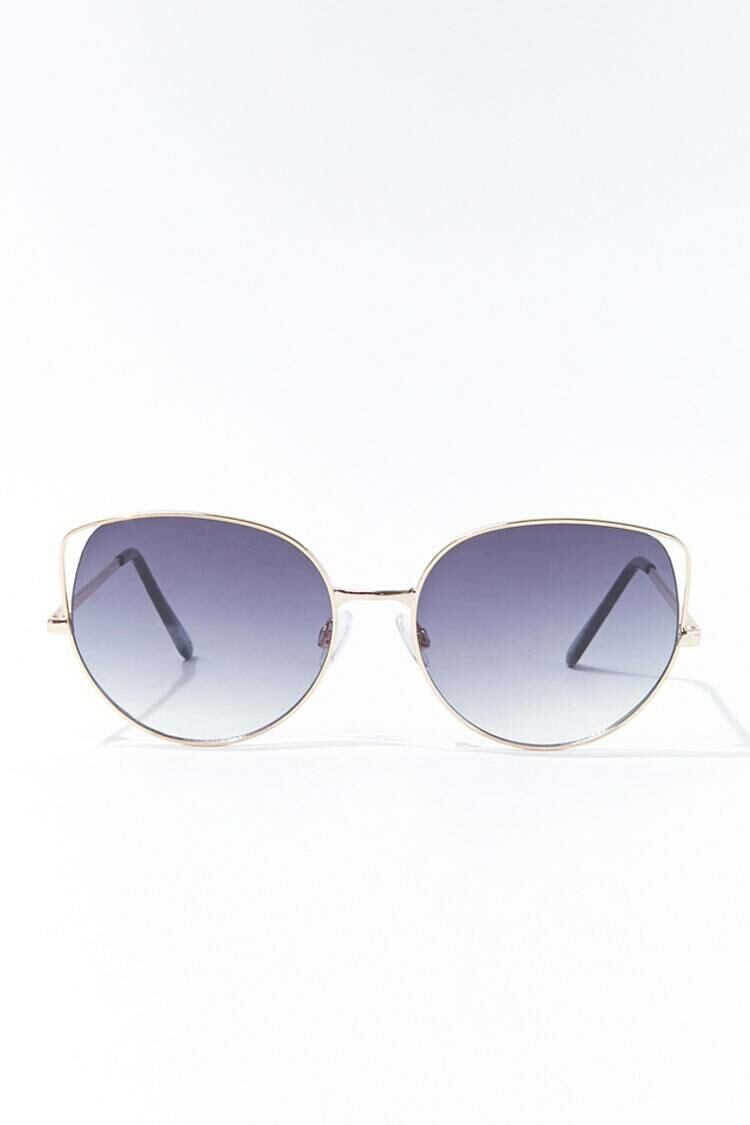 Forever 21 Gold/Grey Round Tinted Metal Sunglasses WOMEN Women ACCESSORIES Womens SUNGLASSES