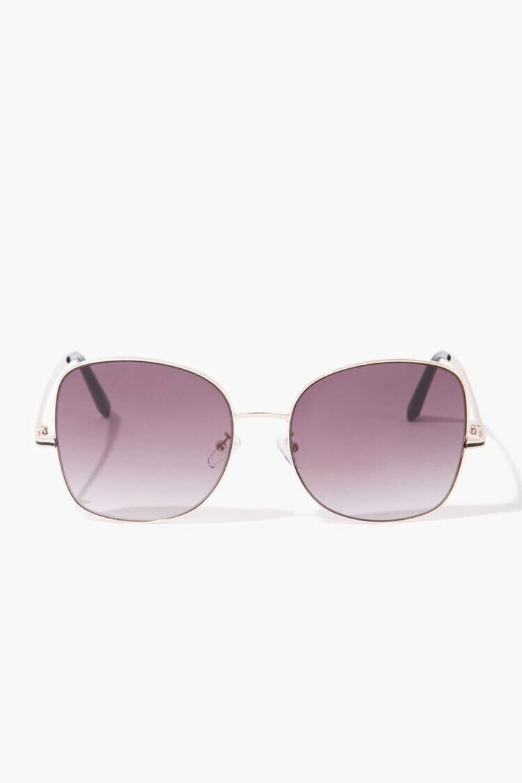 Forever 21 Gold/Grey Square Tinted Sunglasses WOMEN Women ACCESSORIES Womens SUNGLASSES
