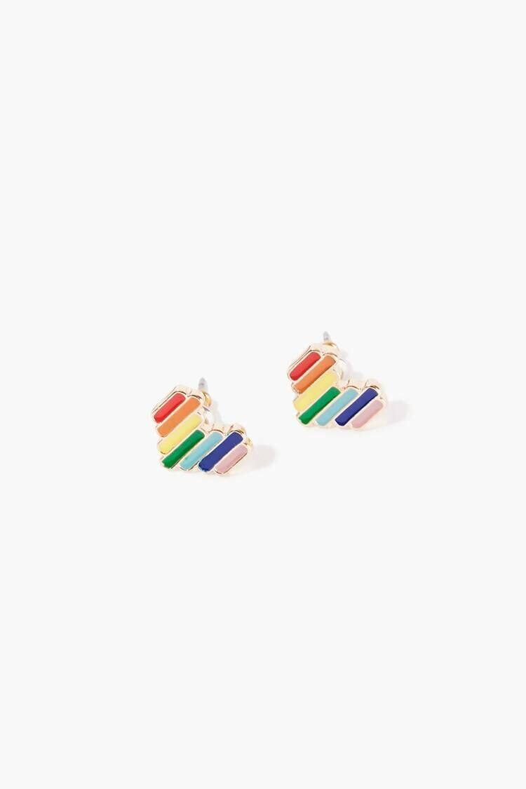 Forever 21 Gold/Multi Rainbow Heart Stud Earrings WOMEN Women ACCESSORIES Womens JEWELRY