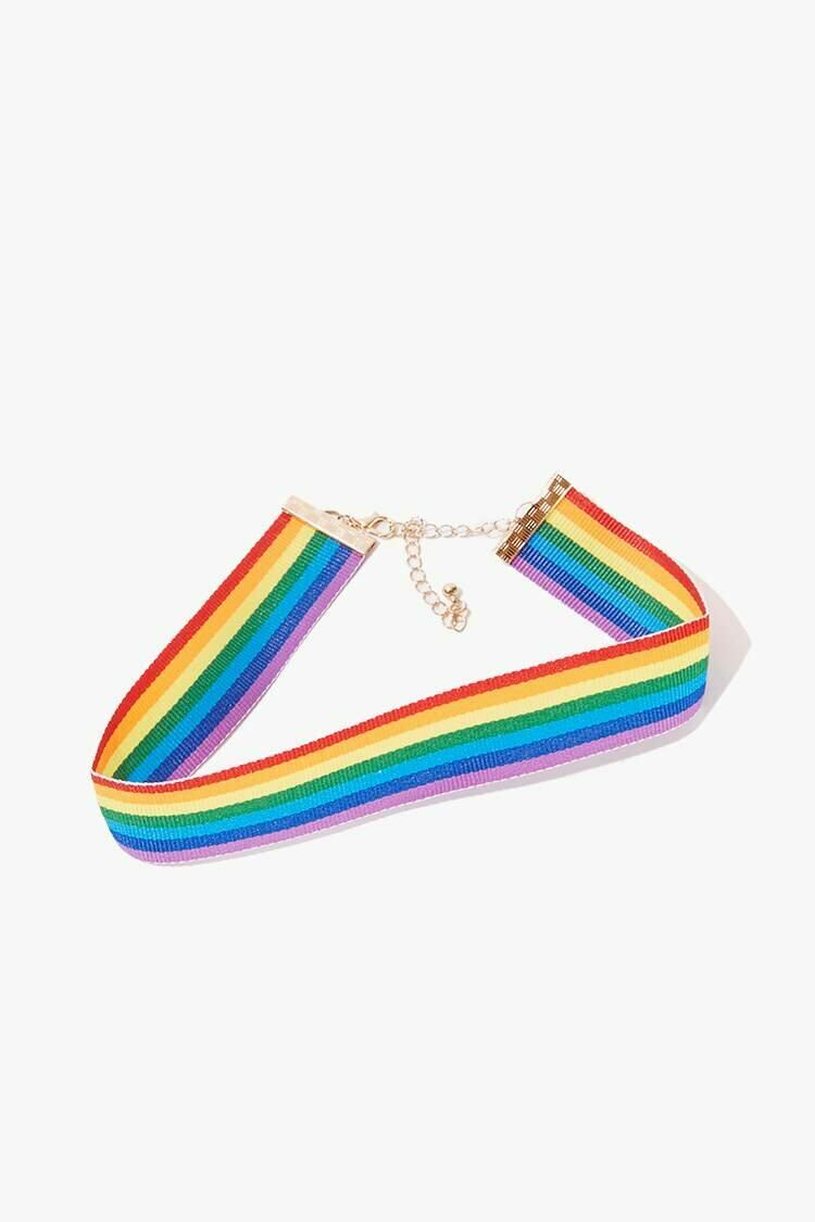 Forever 21 Gold/Multi Rainbow-Striped Choker WOMEN Women ACCESSORIES Womens JEWELRY