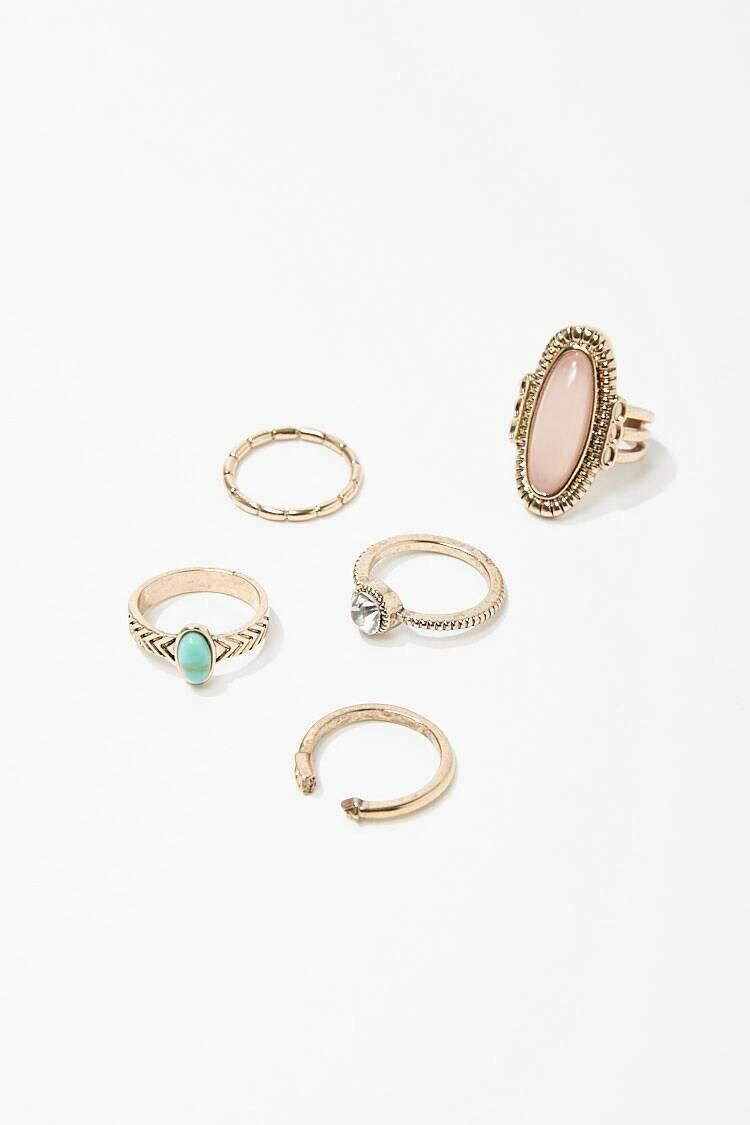 Forever 21 Gold/Pink Faux Gem Ring Set WOMEN Women ACCESSORIES Womens JEWELRY