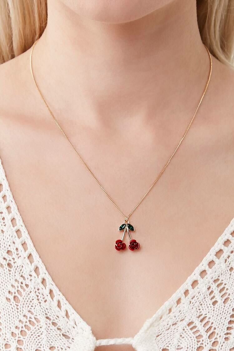 Forever 21 Gold/Red Floral Cherry Pendant Necklace WOMEN Women ACCESSORIES Womens JEWELRY