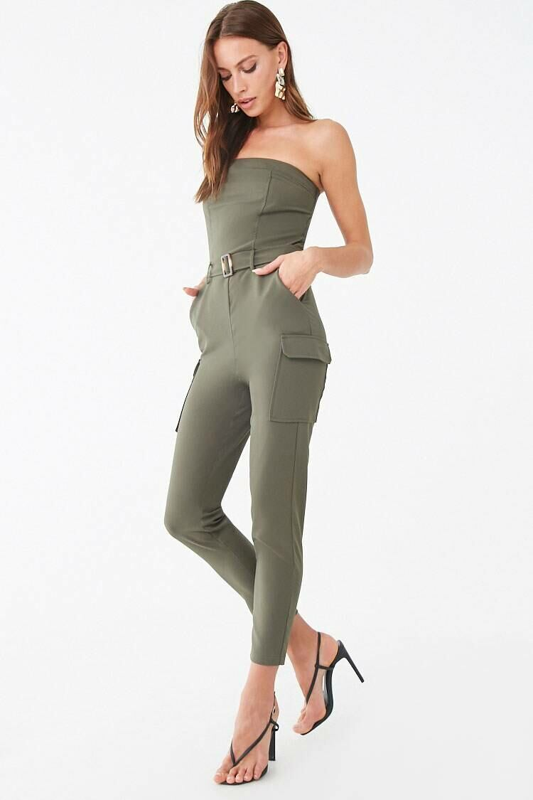 Forever 21 Green Cargo Tube Jumpsuit WOMEN Women FASHION Womens JUMPSUITS