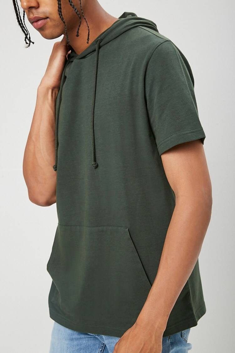 Forever 21 Green Drawstring Hooded Tee MEN Men FASHION Mens T-SHIRTS
