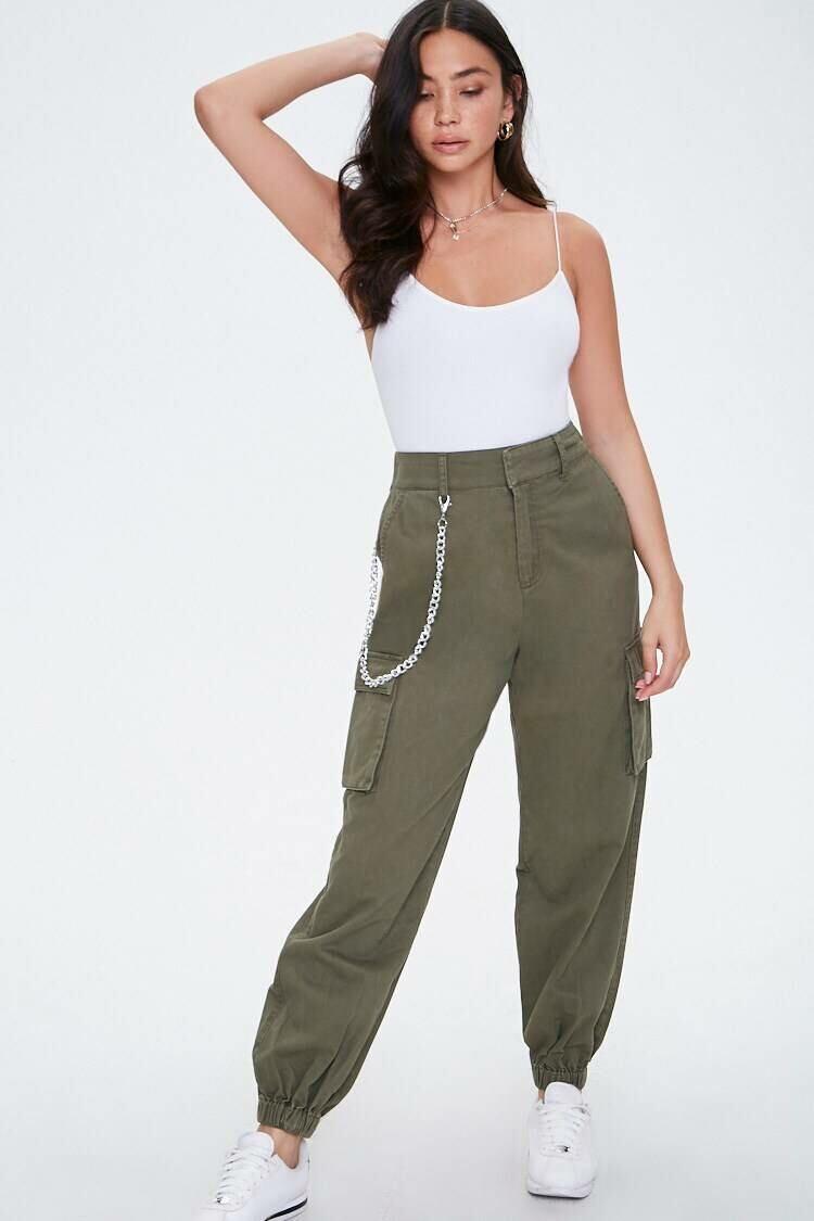 Forever 21 Green Londyn Curb Chain Cargo Joggers WOMEN Women FASHION Womens TROUSERS