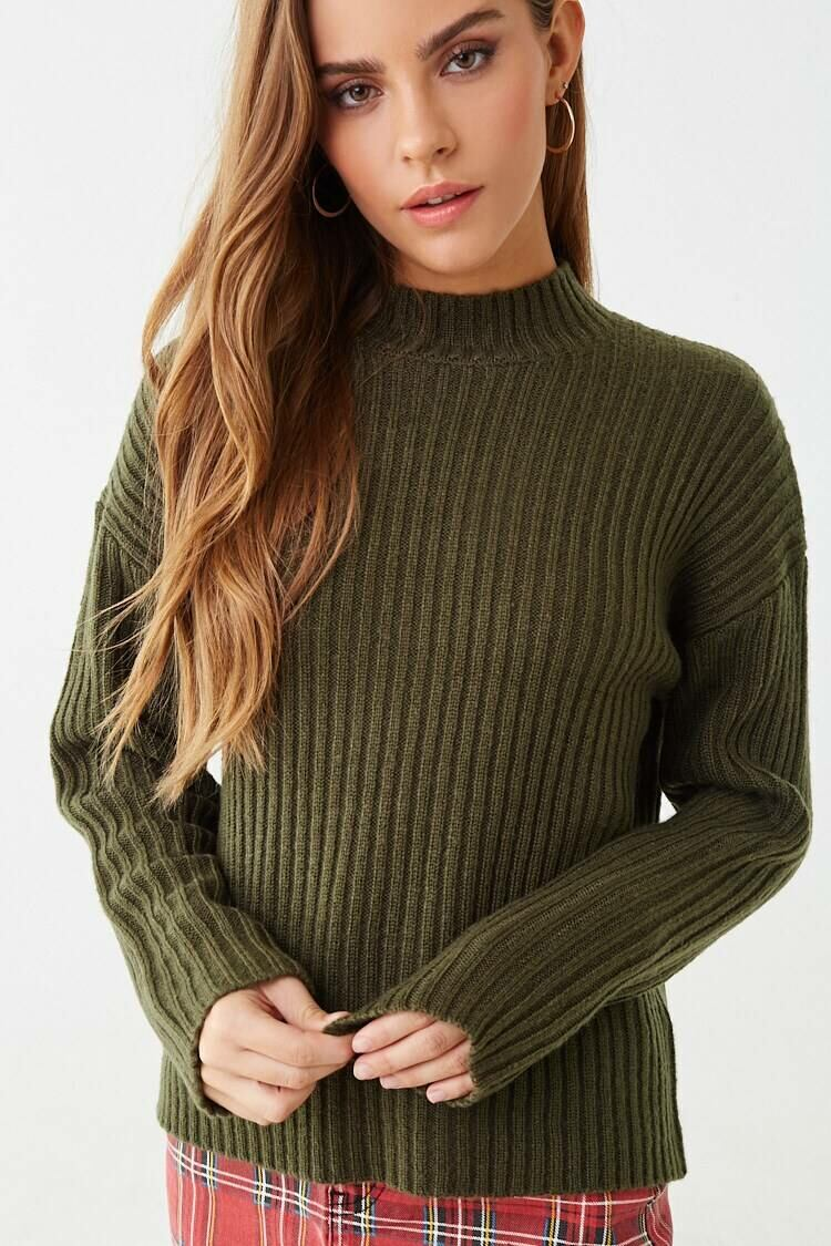 Forever 21 Green Wide Ribbed Sweater WOMEN Women FASHION Womens SWEATERS