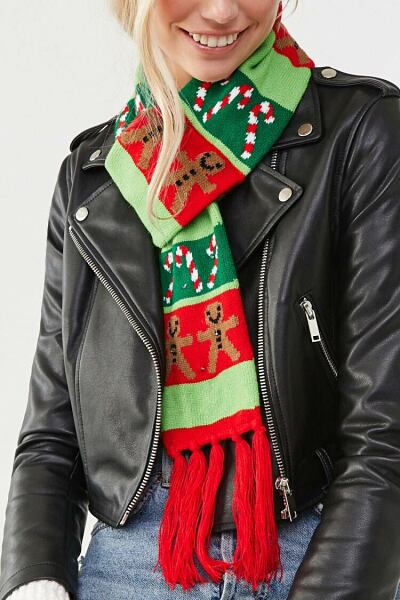 Forever 21 Green/Multi Gingerbread Men & Candy Cane Scarf WOMEN Women ACCESSORIES Womens SCARFS