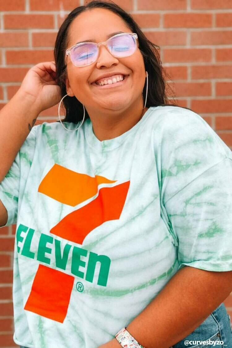 Forever 21 Green/Multi Plus Size Tie-Dye 7-Eleven Graphic Tee WOMEN Women FASHION Womens T-SHIRTS