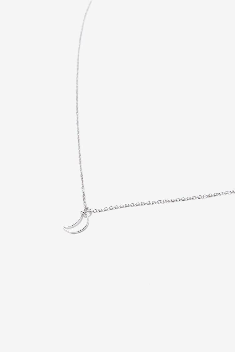 Forever 21 Grey Cutout Crescent Moon Charm Necklace WOMEN Women ACCESSORIES Womens JEWELRY