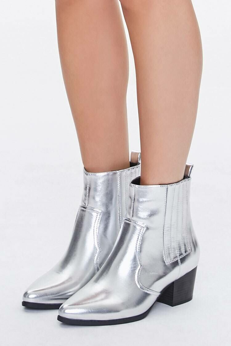Forever 21 Grey Faux Leather Pointed Toe Booties WOMEN Women SHOES Womens ANKLE BOOTS
