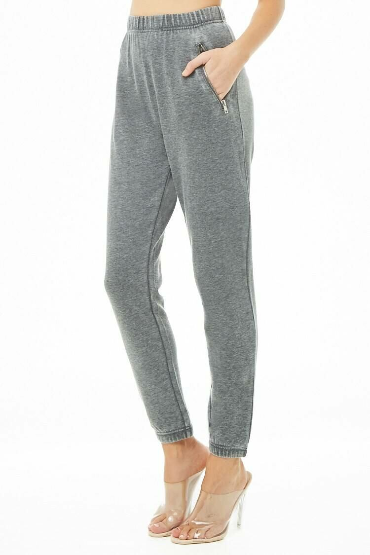 Forever 21 Grey Heathered Zip-Pocket Joggers WOMEN Women FASHION Womens TROUSERS