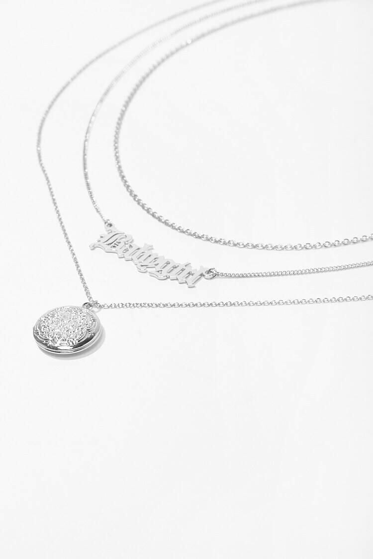 Forever 21 Grey Locket Pendant Necklace Set WOMEN Women ACCESSORIES Womens JEWELRY
