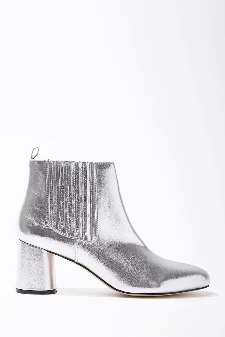 Forever 21 Grey Metallic Faux Leather Booties WOMEN Women SHOES Womens ANKLE BOOTS