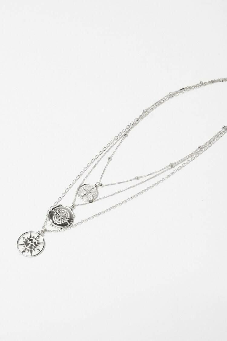 Forever 21 Grey Sun Medallion Layered Necklace WOMEN Women ACCESSORIES Womens JEWELRY