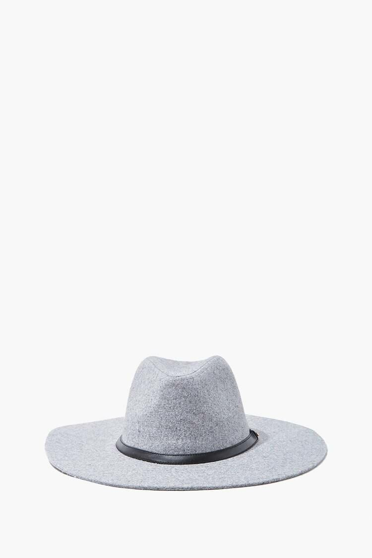 Forever 21 Grey/Black Brushed Wide-Brim Panama Hat WOMEN Women ACCESSORIES Womens HATS