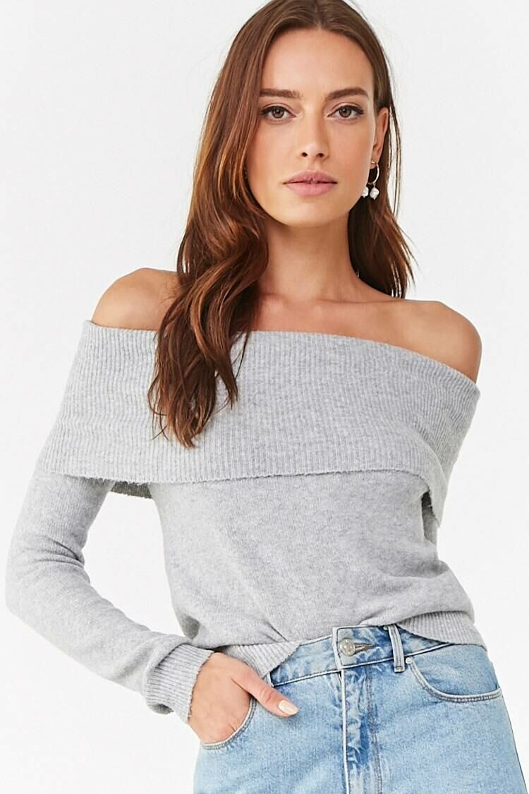 Forever 21 Heathergrey Brushed Off-the-Shoulder Sweater WOMEN Women FASHION Womens SWEATERS