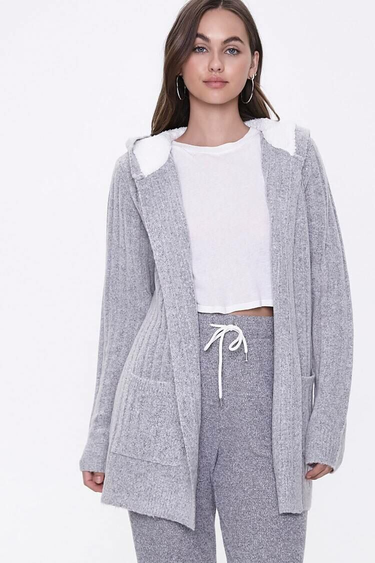 Forever 21 Heathergrey Hooded Ribbed Knit Cardigan WOMEN Women FASHION Womens KNITWEAR