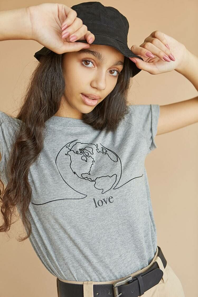 Forever 21 Heathergrey/Black American Forests Love Graphic Tee WOMEN Women FASHION Womens T-SHIRTS