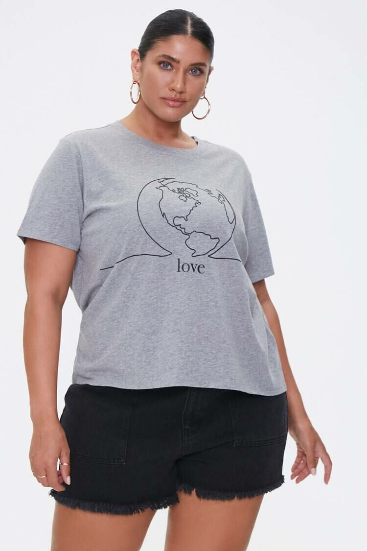 Forever 21 Heathergrey/Black Plus Size American Forests Love Graphic Tee WOMEN Women FASHION Womens T-SHIRTS