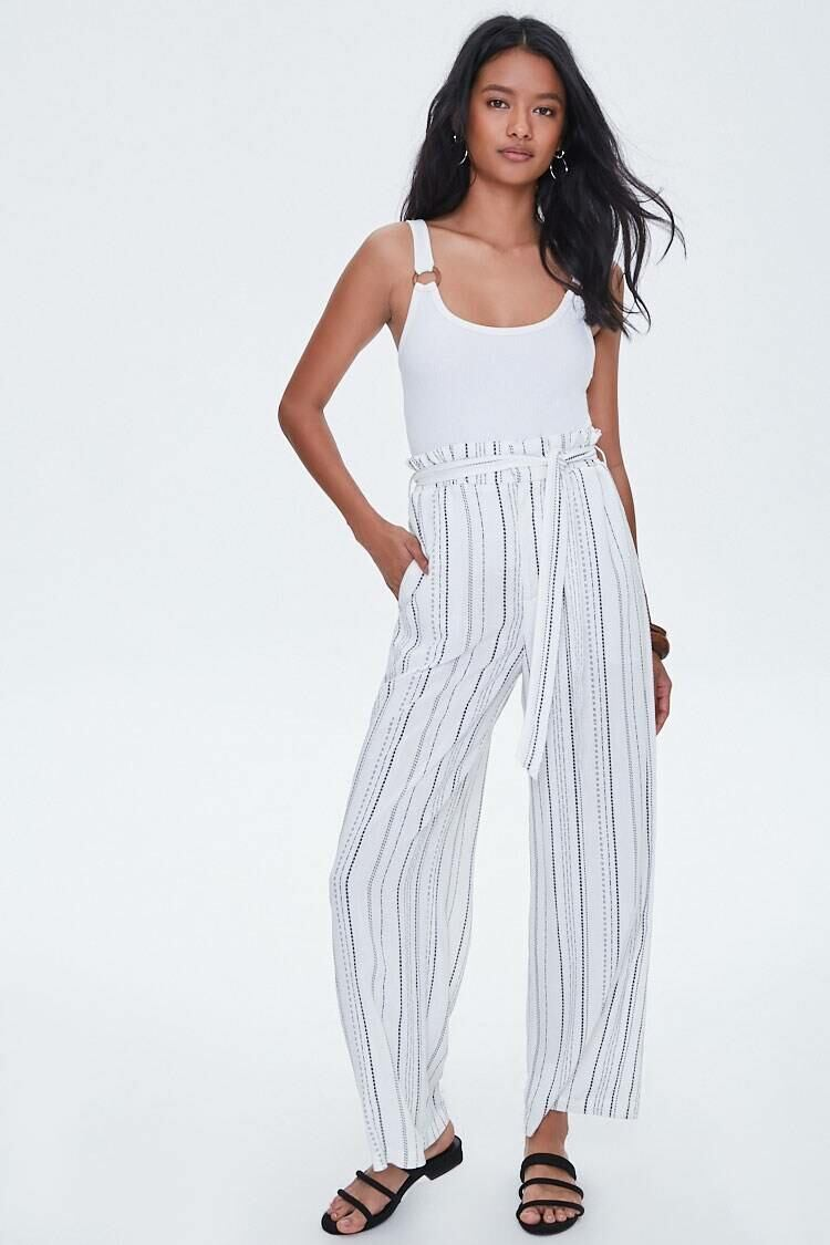 Forever 21 Ivory/Black The Mia Pants WOMEN Women FASHION Womens TROUSERS