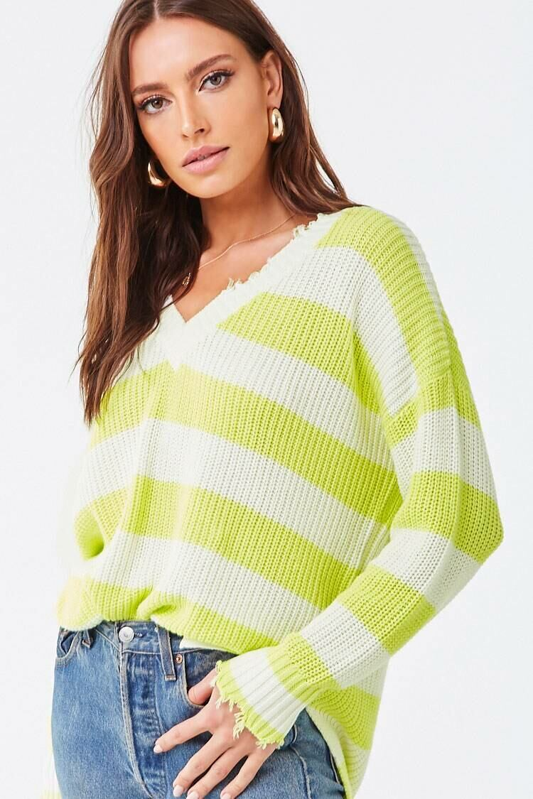 Forever 21 Ivory/Lime Frayed Colorblock Sweater WOMEN Women FASHION Womens SWEATERS