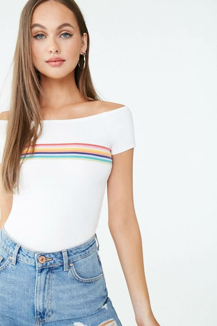 Forever 21 Ivory/Multi Multicolor Striped Tee WOMEN Women FASHION Womens T-SHIRTS