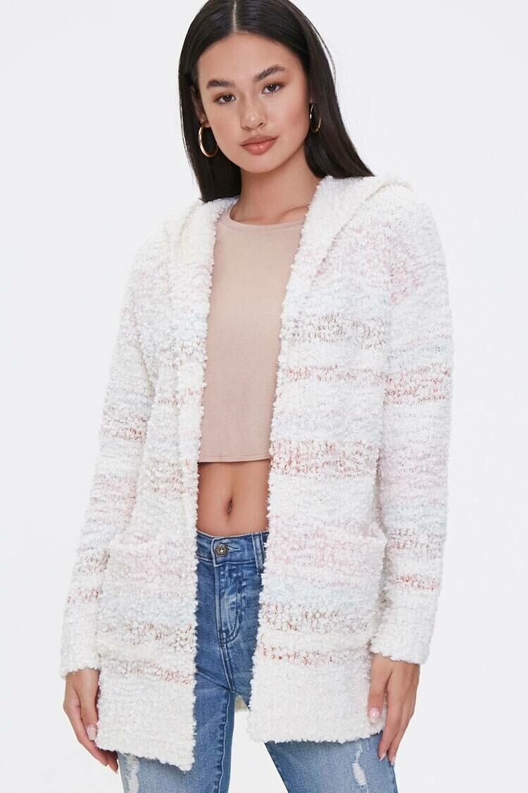 Forever 21 Ivory/Multi Striped Popcorn-Knit Cardigan WOMEN Women FASHION Womens KNITWEAR