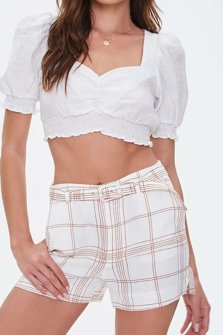 Forever 21 Ivory/Rust Belted Plaid High-Rise Shorts WOMEN Women FASHION Womens SHORTS